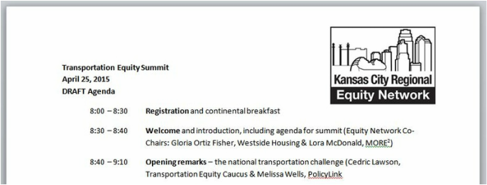 Transportation Equity Summit agenda
